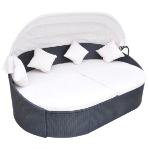 vidaXL Outdoor Lounge Bed with Canopy Poly Rattan Black