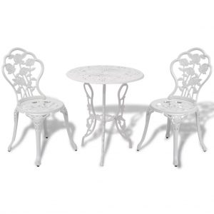 vidaXL 3 Piece Bistro Set Cast Aluminium White
