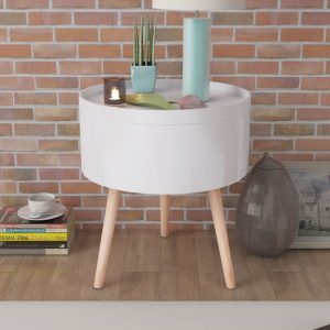 vidaXL Side Table with Serving Tray Round 39.5×44.5 cm White