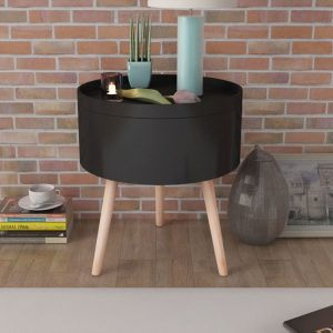 vidaXL Side Table with Serving Tray Round 39.5×44.5 cm Black
