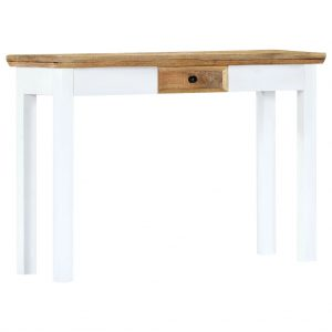 vidaXL Console Table White and Brown 110x35x75 cm Solid Mango Wood