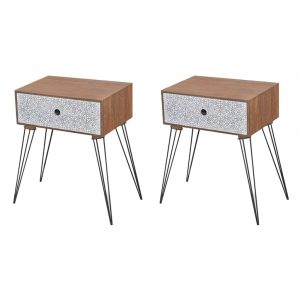 vidaXL Nightstands with Drawer 2 pcs Brown