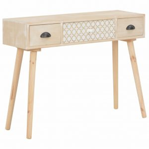 vidaXL Console Table with 3 Drawers 100x30x73 cm Solid Pinewood