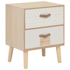 vidaXL Bedside Cabinet with 2 Drawers 40x30x49.5 cm Solid Pinewood