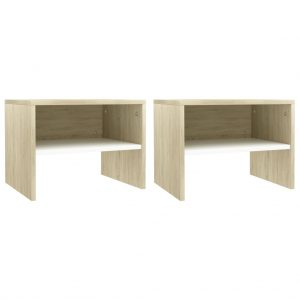 vidaXL Bedside Cabinets 2 pcs White and Sonoma Oak 40x30x30 cm Chipboard