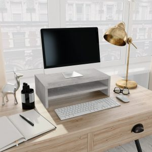 vidaXL Monitor Stand Concrete Grey 42x24x13 cm Chipboard