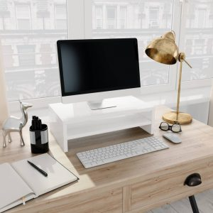 vidaXL Monitor Stand High Gloss White 42x24x13 cm Chipboard