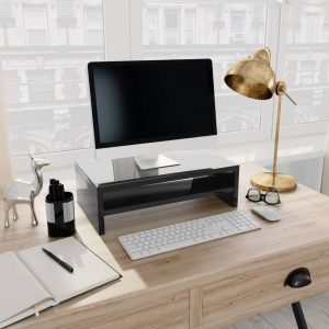 vidaXL Monitor Stand High Gloss Black 42x24x13 cm Chipboard