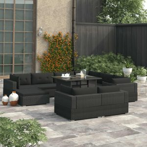 vidaXL 10 Piece Garden Lounge Set with Cushions Poly Rattan Black