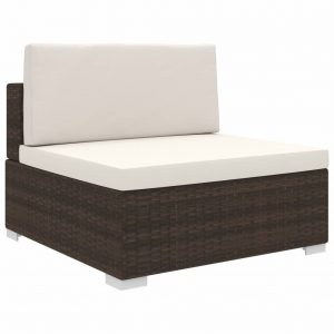 vidaXL Sectional Middle Seat 1 pc with Cushions Poly Rattan Brown