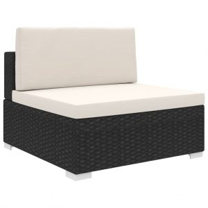 vidaXL Sectional Middle Seat 1 pc with Cushions Poly Rattan Black