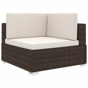 vidaXL Sectional Corner Chair 1 pc with Cushions Poly Rattan Brown
