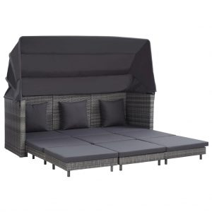 vidaXL Extendable 3-Seater Sofa Bed with Roof Poly Rattan Grey