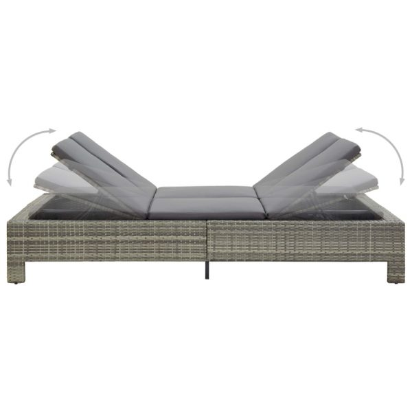 2-Person Sunbed with Cushion Grey Poly Rattan