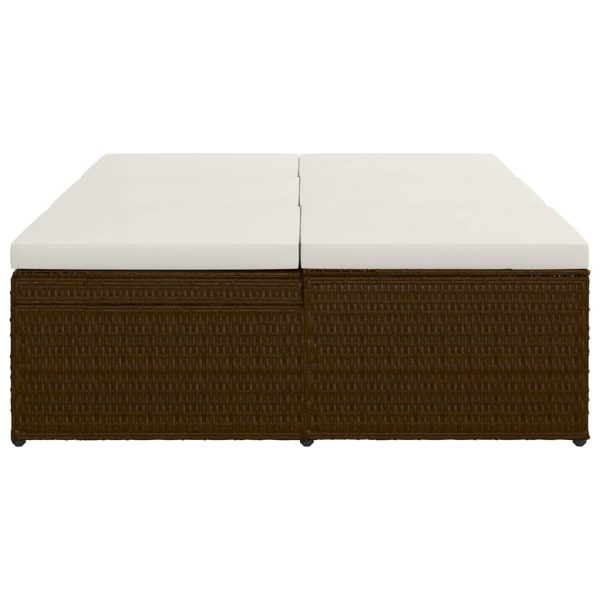 Convertible Sun Bed with Cushion Poly Rattan Brown
