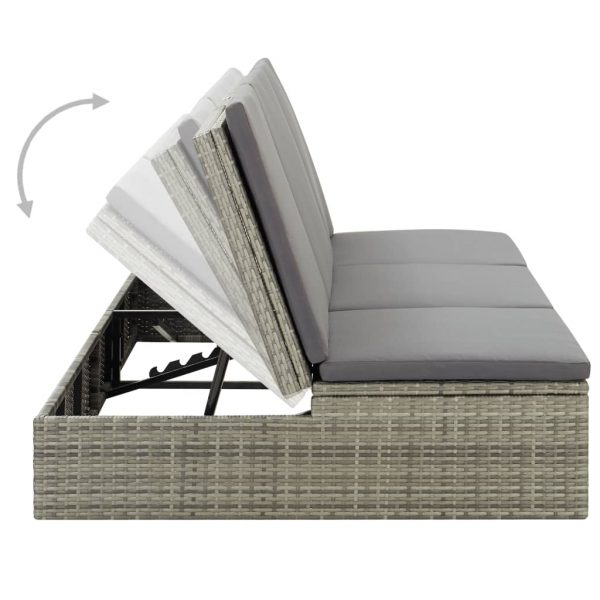 Convertible Sun Bed with Cushion Poly Rattan Grey