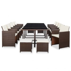 vidaXL 15 Piece Outdoor Dining Set with Cushions Poly Rattan Brown