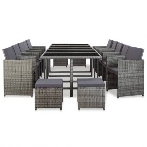 vidaXL 15 Piece Outdoor Dining Set with Cushions Poly Rattan Anthracite