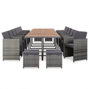 vidaXL 17 Piece Outdoor Dining Set with Cushions Poly Rattan Anthracite