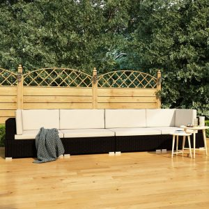 vidaXL 4 Piece Garden Sofa Set with Cushions Poly Rattan Black