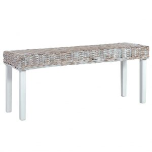 vidaXL Bench 110 cm White Natural Kubu Rattan and Solid Mango Wood