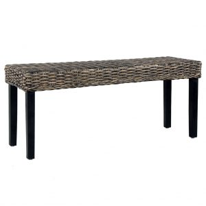 vidaXL Bench 110 cm Black Natural Kubu Rattan and Solid Mango Wood
