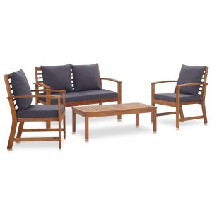 vidaXL 4 Piece Garden Lounge Set with Cushions Solid Acacia Wood