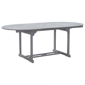 vidaXL Garden Table Grey 200x100x74 cm Solid Acacia Wood