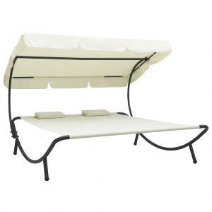 vidaXL Outdoor Lounge Bed with Canopy and Pillows Cream White
