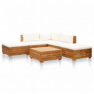 vidaXL 6 Piece Garden Lounge Set with Cushions Acacia Wood Cream White