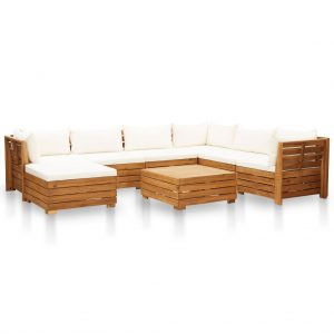 vidaXL 8 Piece Garden Lounge Set with Cushions Acacia Wood Cream White