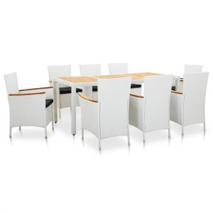 vidaXL 9 Piece Outdoor Dining Set Poly Rattan White