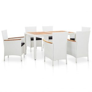 vidaXL 7 Piece Outdoor Dining Set Poly Rattan White