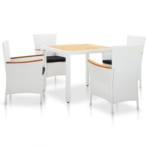 vidaXL 5 Piece Outdoor Dining Set Poly Rattan White