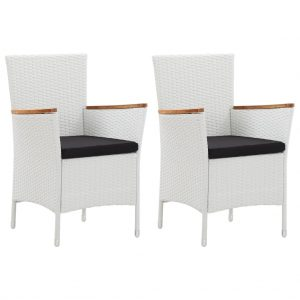 vidaXL Garden Chairs 2 pcs White Poly Rattan