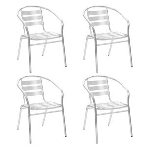 vidaXL Stackable Outdoor Chairs 4 pcs Aluminium