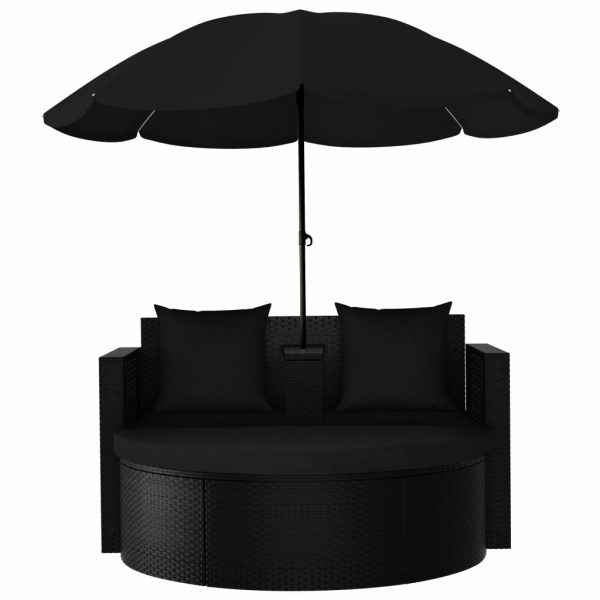 Garden Bed with Parasol Poly Rattan Black