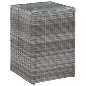 vidaXL Side Table with Glass Top Grey 35x35x52 cm Poly Rattan
