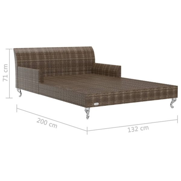 2-Person Garden Sun Bed with Cushions Poly Rattan Brown
