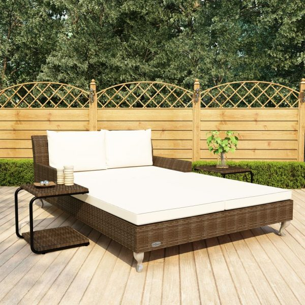vidaXL 2-Person Garden Sun Bed with Cushions Poly Rattan Brown
