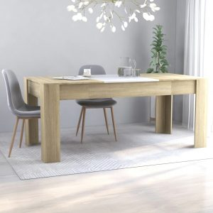 vidaXL Dining Table White and Sonoma Oak 180x90x76 cm Chipboard