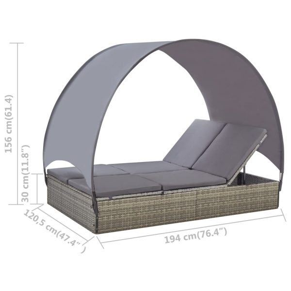 Double Sun Lounger with Canopy Poly Rattan Grey