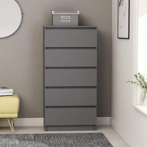 vidaXL Drawer Sideboard Grey 60x35x121 cm Chipboard