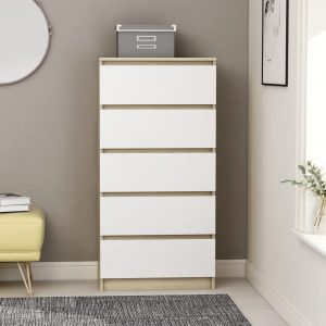 vidaXL Drawer Sideboard White and Sonoma Oak 60x35x121 cm Chipboard