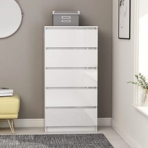 vidaXL Drawer Sideboard High Gloss White 60x35x121 cm Chipboard