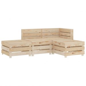 vidaXL 4 Piece Garden Lounge Set Pallets Wood