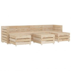 vidaXL 7 Piece Garden Lounge Set Pallets Wood