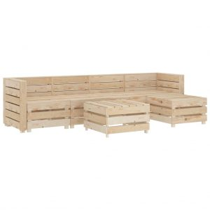 vidaXL 6 Piece Garden Lounge Set Pallets Wood
