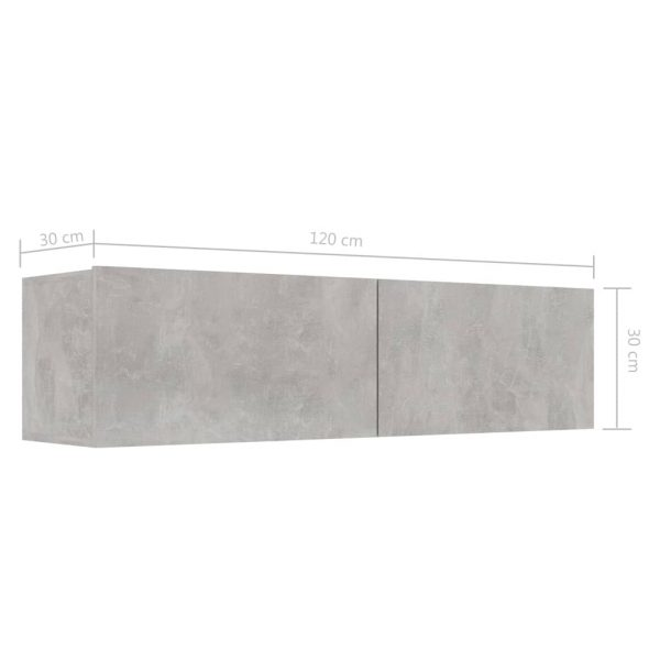 TV Cabinet Concrete Grey 120x30x30 cm Chipboard