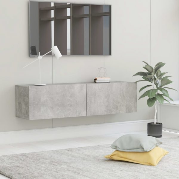 vidaXL TV Cabinet Concrete Grey 120x30x30 cm Chipboard